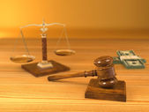 Rights. Judge gavel, scale and money — Stock Photo