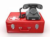 Helpline.Services. telefon på medicinsk utrustning — Stockfoto