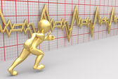 Running men and chart heartbeat. 3d — Stock Photo