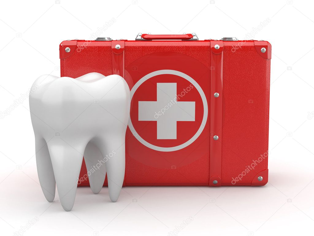Stomatology. Tooth and Medical Kit on white isolated background. 3d — Stock Photo #6114364