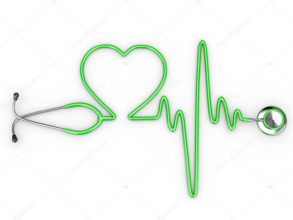 Stethoscope and a silhouette of the heart and ECG. 3d — Stock Photo #6299210