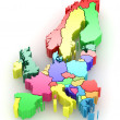 Three-dimensional map of Europe. 3d — Stock Photo