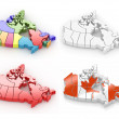 Three-dimensional map of Canada on white isolated background — Stock Photo #6454356