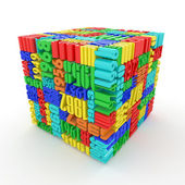 Years. Cube consisting of the numbers — Stock Photo