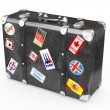 Black leather suitcase with travel stickers. — Stock Photo #6632944