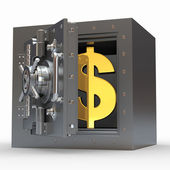 Dollar sign in vault. 3d — Stock Photo
