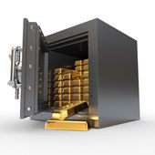 Stack of golden ingots in bank vault — Stock Photo