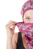 Young woman with covered face — Stock Photo