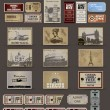 Big set of tickets and stamps in vintage style. vector - Stockvectorbeeld