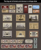 Big set of tickets and stamps in vintage style. vector — Vettoriale Stock