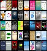 Variété de 40 cartes de visite verticales sur différents sujets — Vecteur