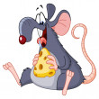Stock Vector: Rat eating cheese