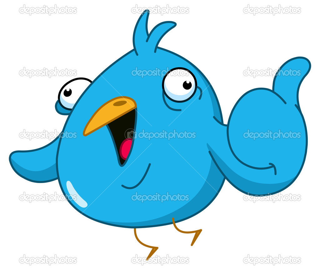 Funny blue bird showing thumb up — Stock Vector #5494511