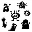 schattig monsters silhouetten — Stockvector
