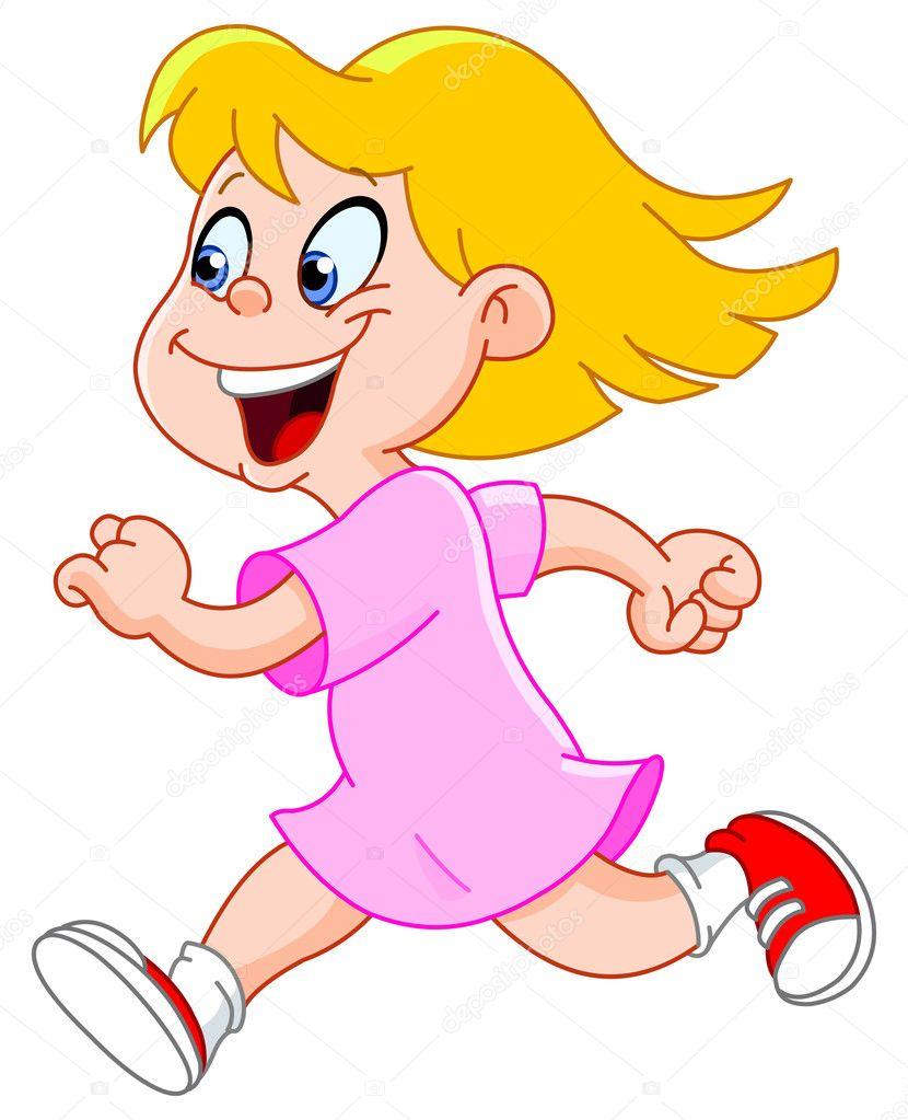 Little girl running - Stock Illustration
