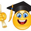 Stock Vector: Graduation emoticon