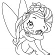 Stock Vector: Outlined little fairy