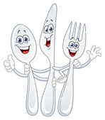 Spoon knife and fork cartoon — Stockvektor