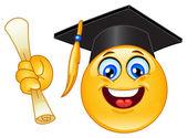 Graduation emoticon — Stock Vector