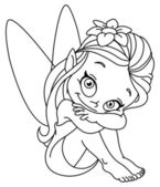 Outlined little fairy — Vetor de Stock