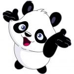 Fröhliche Baby panda — Stockvektor