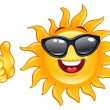 Thumb up sun - Stock Vector