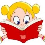Girl reading book — Stock Vector