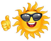 Thumb up sun — Stock Vector