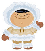 Eskimo kid — Vector de stock