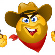 Stock Vector: Cowboy emoticon
