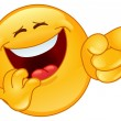 Laughing and pointing emoticon - Stockvectorbeeld