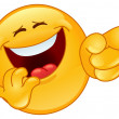 Laughing and pointing emoticon — Imagen vectorial