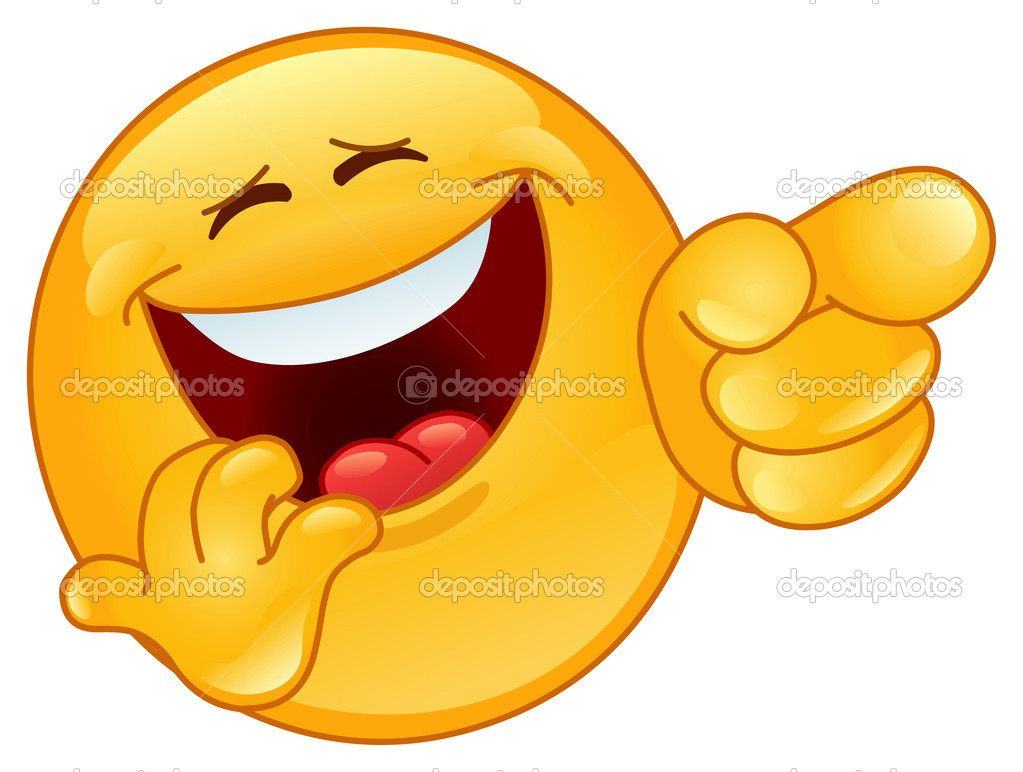 Laughing and pointing emoticon — Stock Vector #6218257