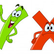 Tick and cross cartoon - Imagen vectorial