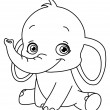 Outlined baby elephant — Vector de stock