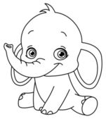 Outlined baby elephant — Vetor de Stock