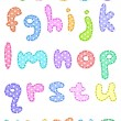 Polka dot lower case alphabet with stitches - Stock Vector