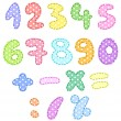 Polka dot numbers with stitches - Stock Vector