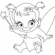 Stock Vector: Outlined baby fairy