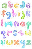 Polka dot lower case alphabet with stitches — Stockvektor