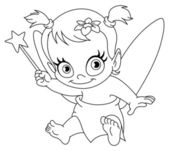 Outlined baby fairy — Stock Vector
