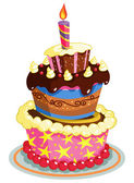 Birthday cake — Stockvector