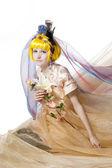Beautiful girl the princess in a fabric — Stock Photo