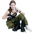 The girl in a military uniform — Stock Photo