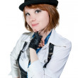 The beautiful girl dressed as the gangster — Stock Photo