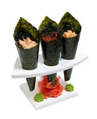 Set of delicacies in the horns of nori — Stock Photo
