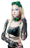 Beautiful cybergoth blonde girl — Stock Photo