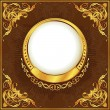 Stock Vector: Gold vintage circle frame with ribbon
