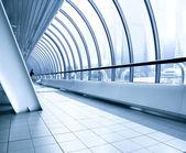 Blue escalator in motion — Stock Photo