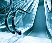 Footsteps of escalator in airport prspective view — Stock Photo